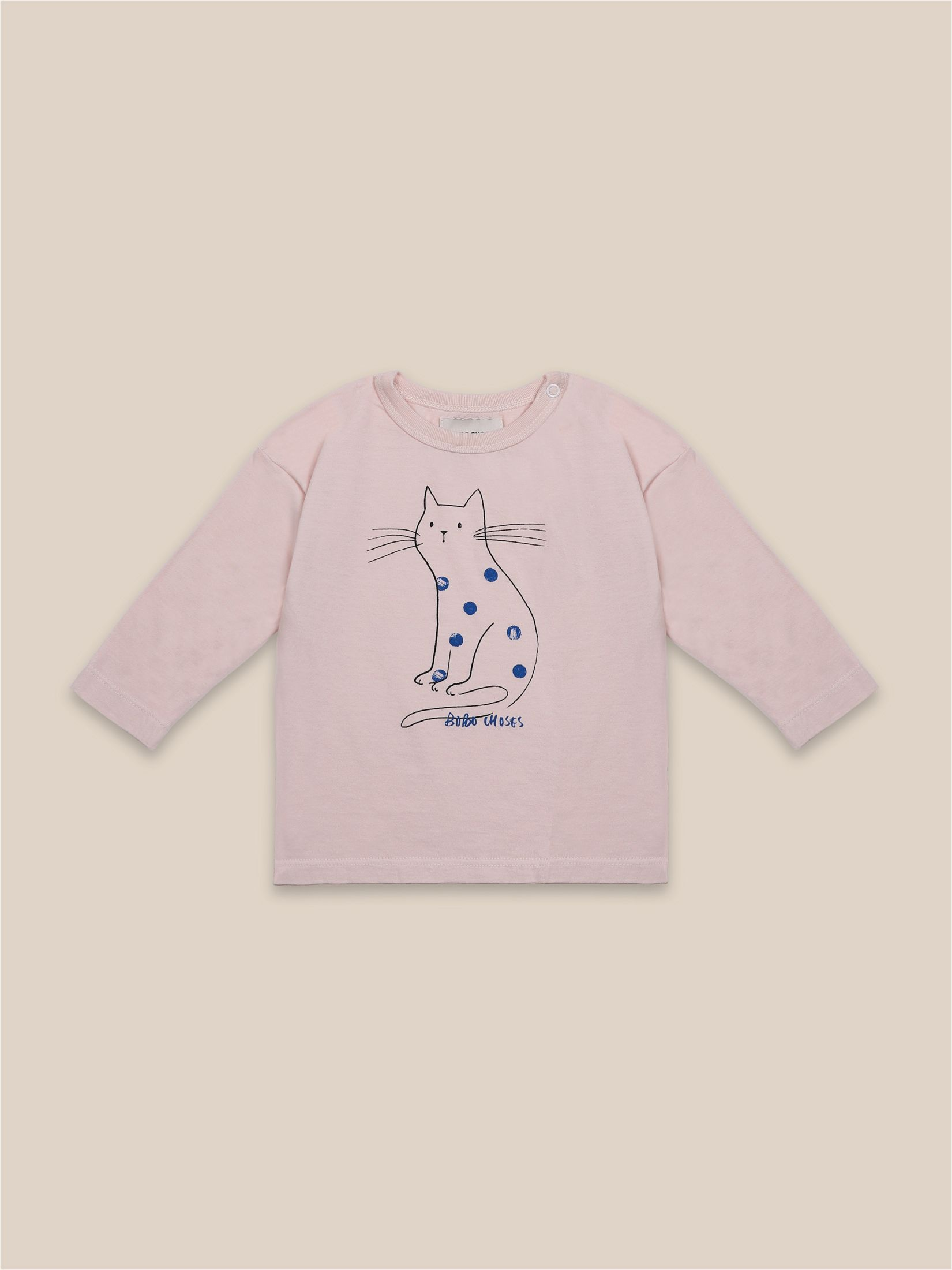 Bobo Choses - Cat Long Sleeve T-Shirt - Cream Tan